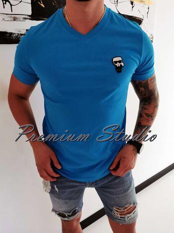 M, L, XL, XXL / Karl Lagerfeld męska koszulka w serek tshirt błękitna