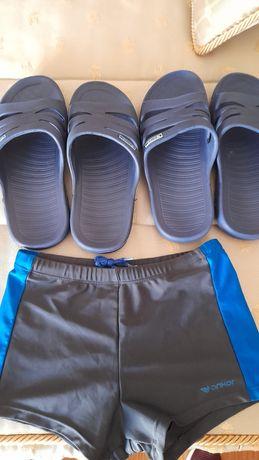 Chinelos de natação (2) e 1 calção