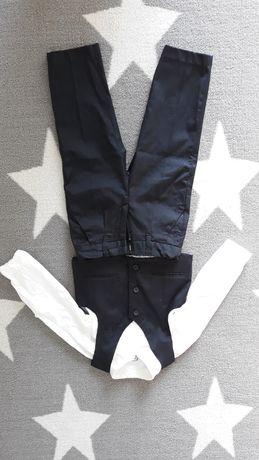 Ubranie chłopięce: spodnie, kamizelka i koszula body na 92 cm.