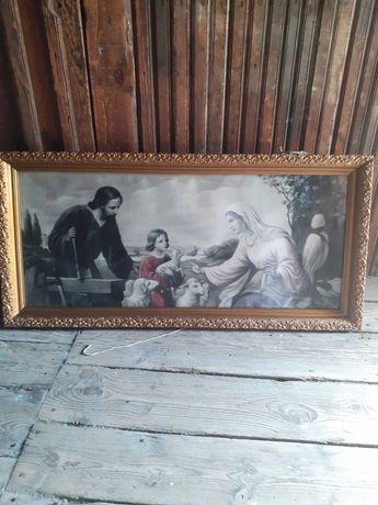 Stary obraz w pieknej ramie