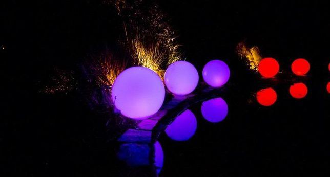 Lampa kula solarna kolorowa z pilotem 16 kolorów do wbijana kule lampy