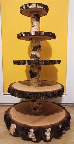 Drewniana patera na ciasto/torta DUŻA! 5 poziomów