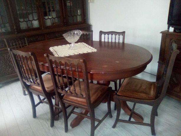 Móveis de Sala de Jantar - Cristaleira + Aparador + Mesa + 8 Cadeiras