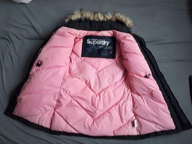 Czarna puchowa kurtka dłuższa płaszcz zima Superdry XS