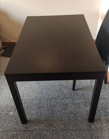 Mesa extensível de madeira como nova com vidro temperado incluído