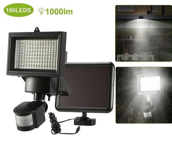 Solarna Lampa 100 LED z czujnikiem ruchu, zmierzchu i czasu naswietlan