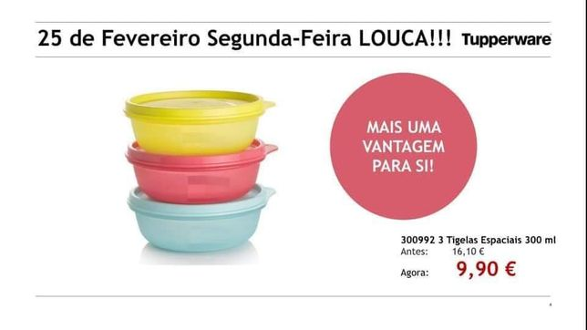 3 tigelas espaciais 300ml tupperware