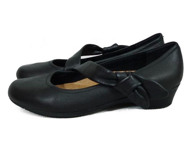 CLARKS PÓŁBUTY BUTY czarne balerinki skórzane 39