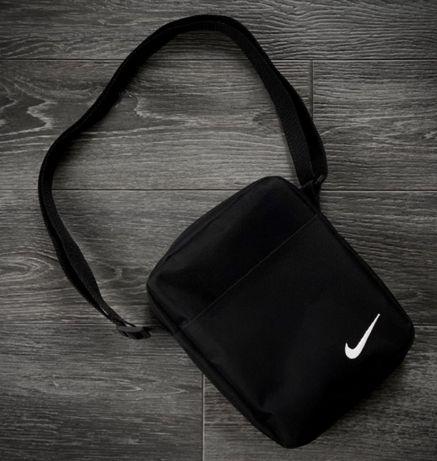 Мужская барсетка Nike ( черная ) с белым логотипом