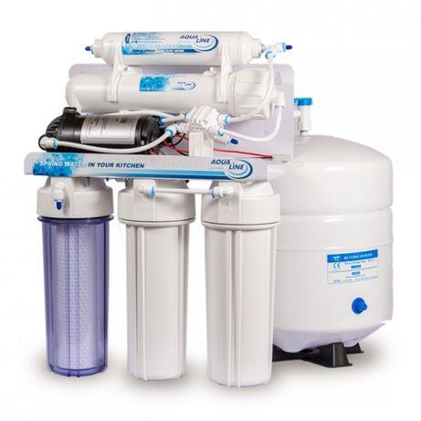 Купить фильтр обратного осмоса с насосом AquaLine RO-5 P с помпой