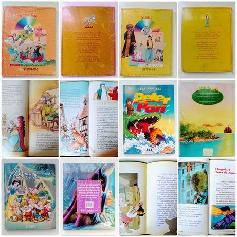Livros infantis Aladin,Peter Pan e Branca de Neve.