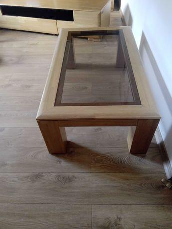 Stolik drewniany kawowy z szybą