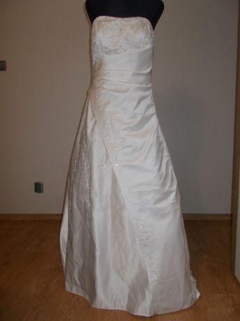 Wyjątkowa suknia ślubna firmowa Sposa Toscana z długim trenem Piękna!