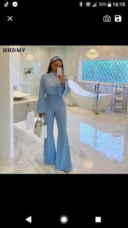 Luksusowy kombinezon wiosna 2021 niebieski roz. 34 xs