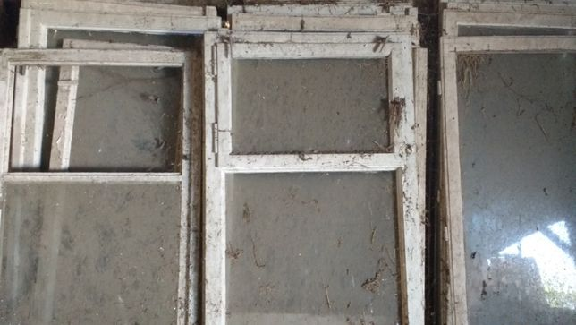 Okna drewniane z demontażu, różne wielkości