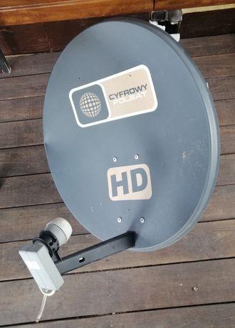 Talerz Polsat HD z uchwytem do ściany