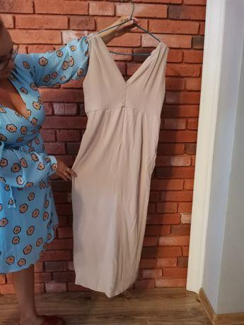 Sukienka beżowa na wyjście