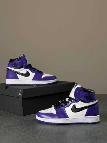 Кожаные фиолетовые кроссовки Nike Air Jordan 1 High Purple 36-40 р.