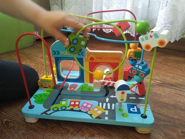 Tooky Toy Smily Play labirynt zakręcona zabawka drewniana