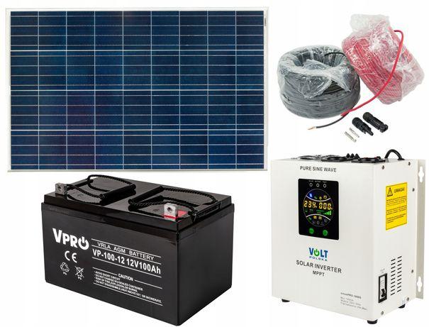Panele fotowoltaiczne zestaw panel 150W 12V inwerter aku (ZES147)