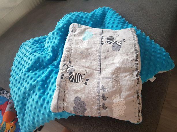 Pościel MINKY niebieska kołderka poduszka zestaw
