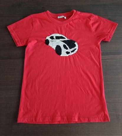 T-shirt chłopięcy z cekinami podkoszulek bawełniany czerwony rozm. 140