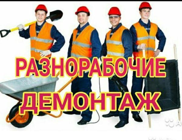 Демонтаж,разнорабочие,услуги грузчиков.