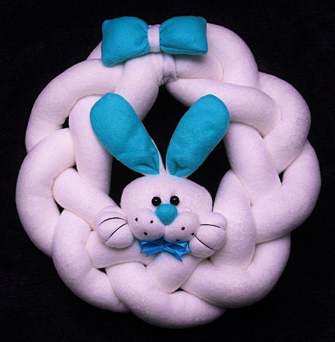Wianek dekoracyjny, zawieszka, warkocz, królik, zajączek. Handmade Czarny Bór - image 1