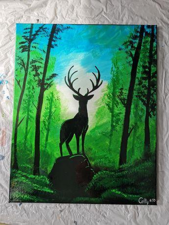 Obraz ręcznie malowany 40x50 jeleń zielony