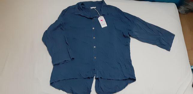 Niebieska błękitna koszula bluzka damska oversize uniwersalna