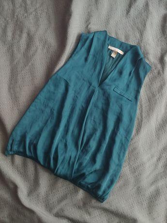 Блуза блузка безрукавка изумрудная сатиновая атласная шелковая zara