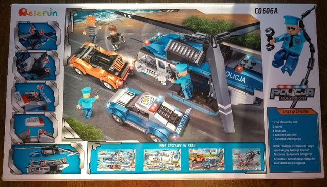 Nowe klocki policja,posterunek,radiowoz,helikopter, auto j.Lego city