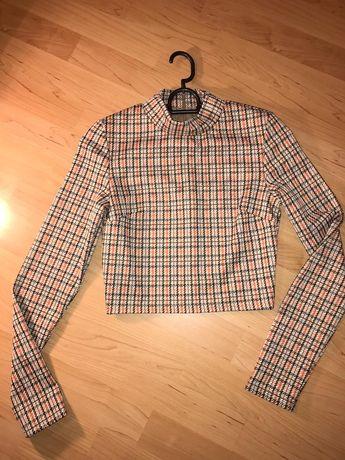 Crop top, bluzka w kratkę z półgolfem XS