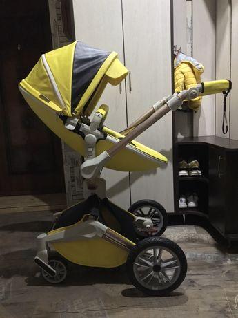 коляска 2в1 Hot Mom 360(Mima Xari,Хот Мом) желтая,+подарок на выбор