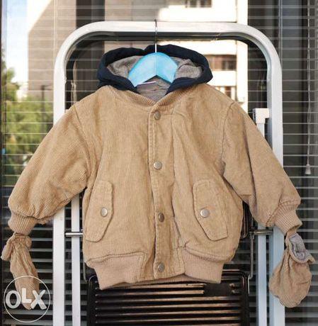 Куртка демисезонная утеплённая вельветовая для мальчика 6-9 месяцев