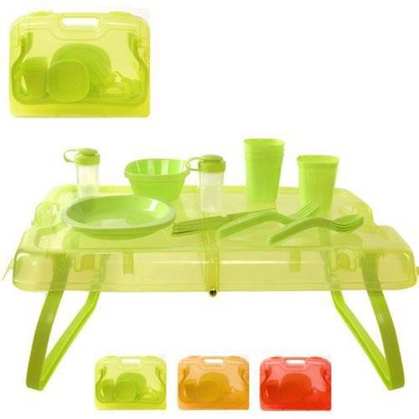 Столик для пикника.Набор для пикника в кейсе(столик и посуда)