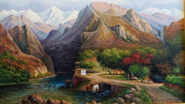 """Картина маслом на холсте.''Горный пейзаж'"""""""