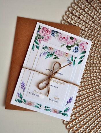 Zaproszenie. Ślub. Eko kwiaty. Białe karty+złote napisy.