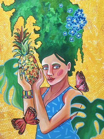 Obraz akrylowy ręcznie malowany na płótnie bawełnianym 60x80cm
