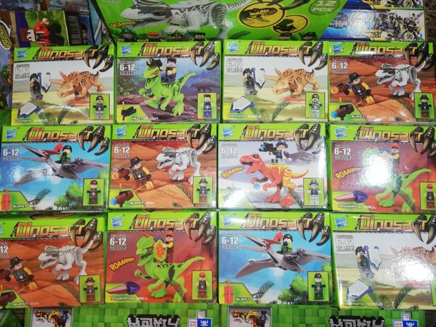 Набор 6 видов фигурки Динозавры +человечек Конструктор