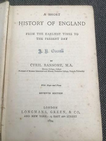 """Sprzedam książkę """"A short History Of England"""" z 1894 roku"""