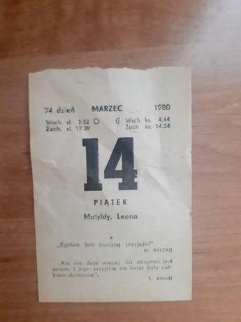 Oryginalna kartka z kalendarza zdzieraka 14 marzec 1980 rok prezent ur