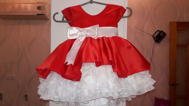 Продам красивенное красное платье со шлейфом,можно на Крестины