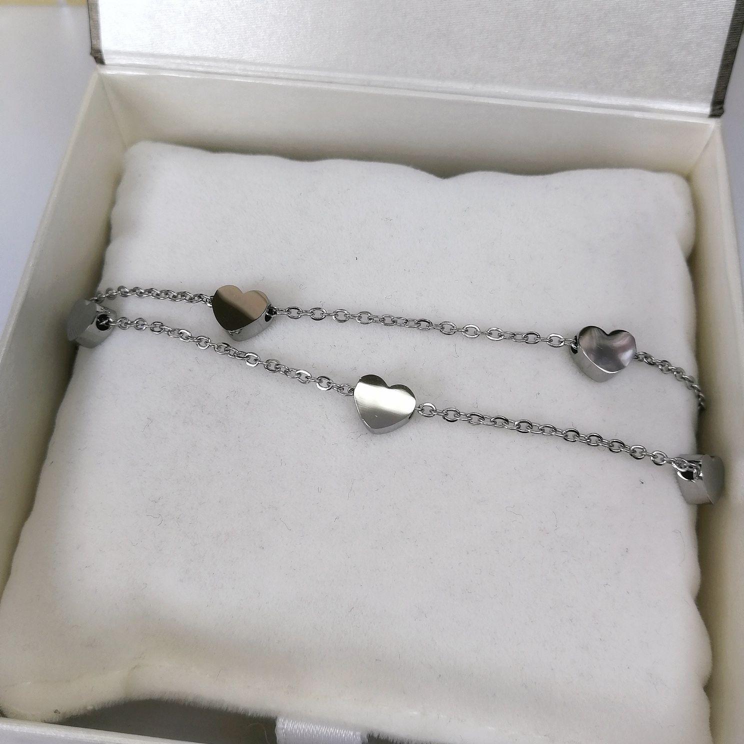 Nowa srebrna podwójna bransoletka z serduszkami