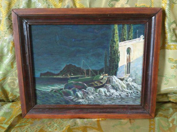 Картина гуашь 35-29 в деревяной раме