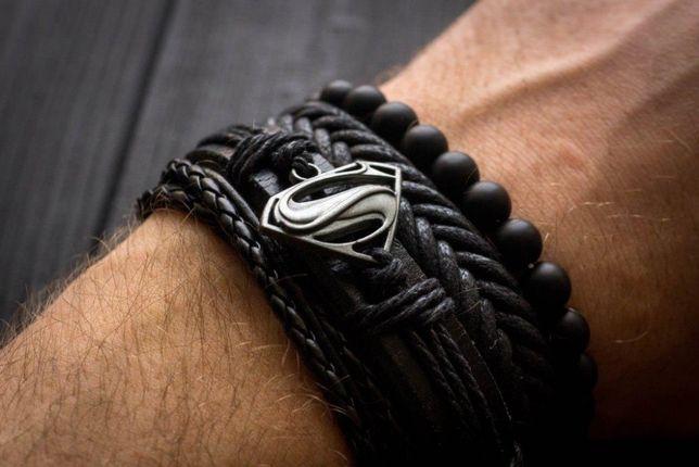 Браслет кожаный мужской S man чёрный комплект из 4х браслетов
