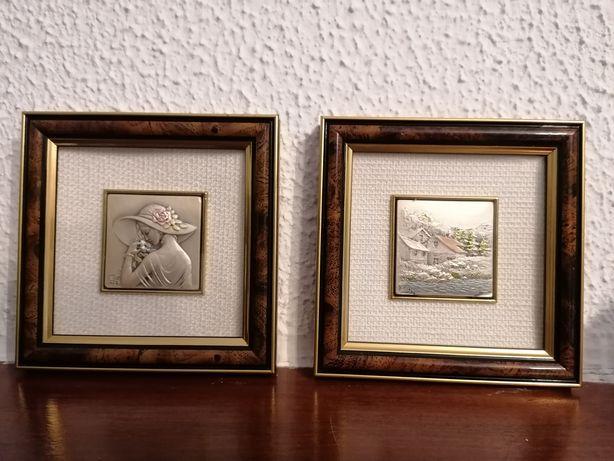 Quadros com criação artística sobre placa de prata