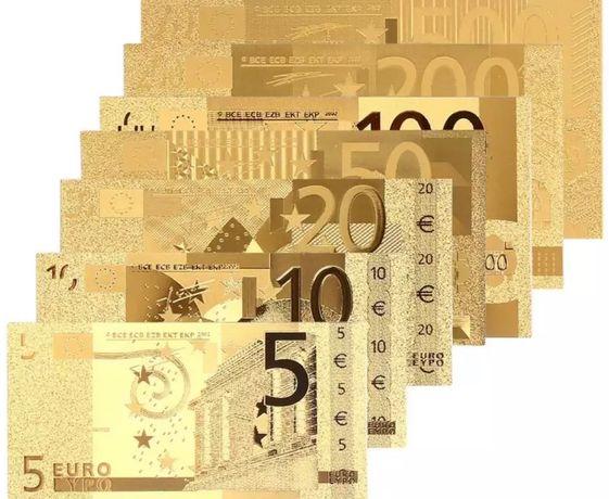Notas Euro banhadas folha ouro