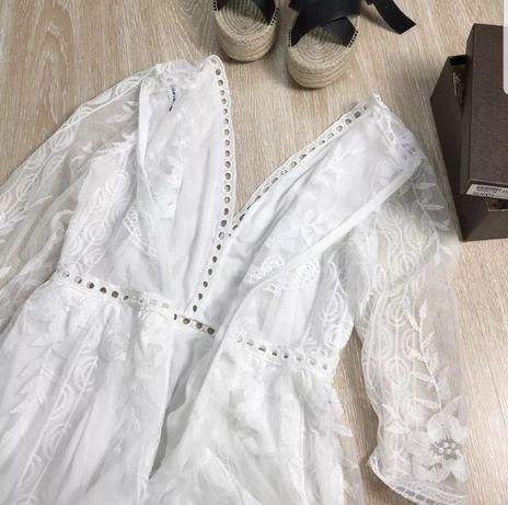Tunika sukienka mini koronkowa biała NOWA!