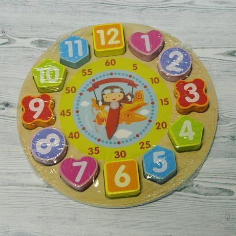 Деревянные часы сортер - Цифры вкладыши геометрия, обучающая игрушка
